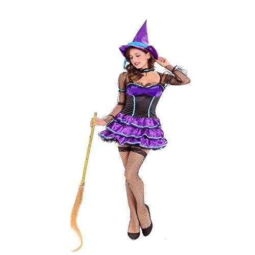 Fashion-Cos1 Frauen Mystic Hexe Kostüm Cosplay Erwachsene Sexy Halloween Kostüm Kostüm Mit Hut Mädchen Uniform Thema Party - Hexe Mystic Kostüm