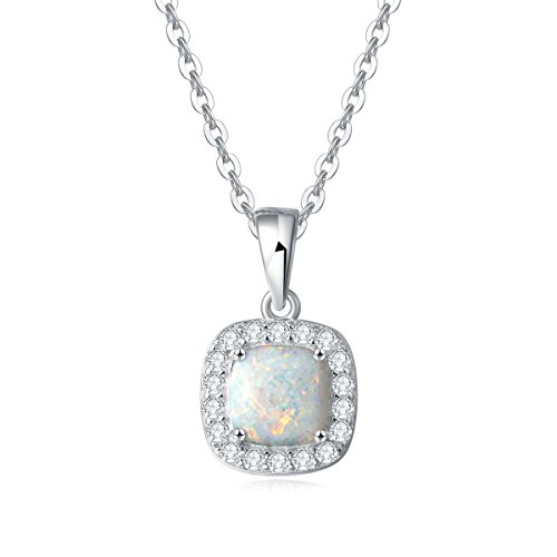 Opal Anhänger Kette 925 Sterling Silber Damen Halskette mit 45 CM Kette Schmuck Geschenk für Frauen