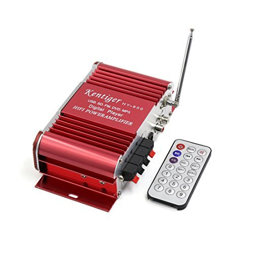 DealMux Red USB SD FM Hi-Fi Audio Stereo Power Amplifier w Remote Controller DC 12V for Car Red Hi Fi Audio