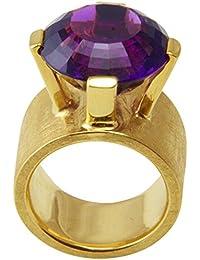 Joyas de diseño skielka único Amatista anillo oro de forja (oro amarillo 585) - anillo de oro con amatista 21 puiido - Amatista Anillo negro