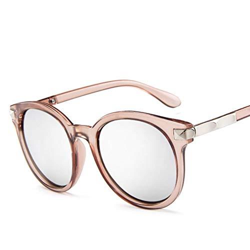 Shihuam New Goggle blau runde männer Auge Sonnenbrille runde übergröße Damen Festival Mode Frauen Sonnenbrille,Beiges Silber