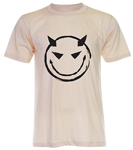 PALLAS Unisex's Evil Bad Smiley T Shirt Light Beige