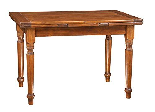 Biscottini Table à rallonge en Bois Massif de Tilleul, Finition Noyer L120xPR80xH80 cm