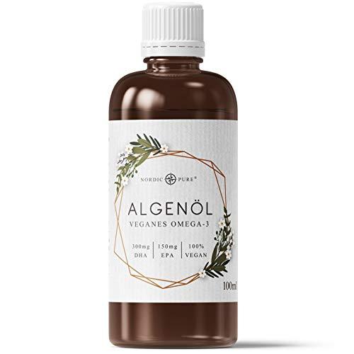 Veganes Omega 3 Algenöl von Nordic Pure | Mit 720mg DHA & 360mg EPA je 2.5ml | Aus der Mikroalge Schizochytrium sp. | 100 ml