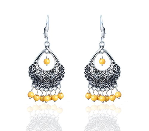 Waama jewels Antique Silver Plated Yellow Color Pearl Dangle & Drop Earrings For Women and Girls  available at amazon for Rs.149