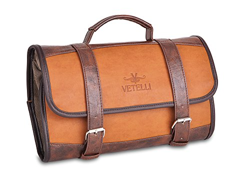 Vetelli Men's Hanging Wash / Toiletry Bag - Brown