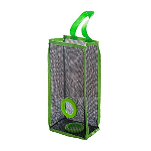 OUNONA Dispensador de bolsas de basura de malla colgante plegable Organizador Bolsas de basura titular Bolsa de supermercado Recipientes de reciclaje Almacenamiento de la cocina - Tamaño L (verde)
