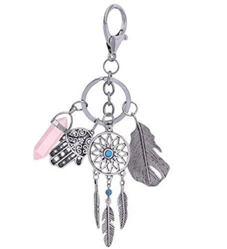 (Kanggest Schlüsselanhänger Traumfänger Anhänger Klein Schlüsselring Tasche Handtaschenanhänger Auto Schlüsselbund Elegant Legierungs Schlüsselanhänger (Rosa))