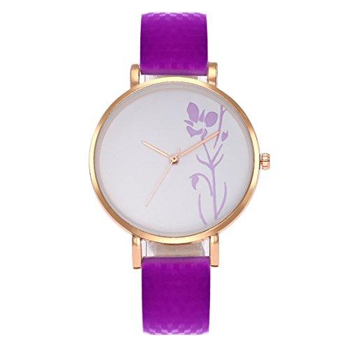 Souarts Damen Armbanduhr Farbwechsel Uhr unter UV von Weiß bis Lila Temperatursensor Entfärbung Blumen Muster Einfach Stil Analoge Quarz Uhr mit Batterie Charm Zubehör