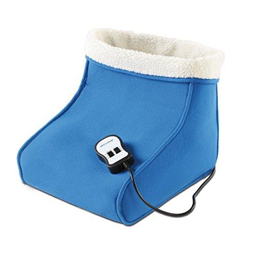 aktivshop Fußwärmer mit Massage Heizschuh Wärmeschuh mit Teddyfutter, waschbar, blau