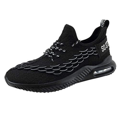 CUTUDE Schuhe Herren Sneaker Bequem Casual Turnschuhe Outdoor Atmungsaktiv Laufschuhe Sportschuh Bergsteigen Schuhe Schnürer Sneaker (Schwarz, 45 EU)