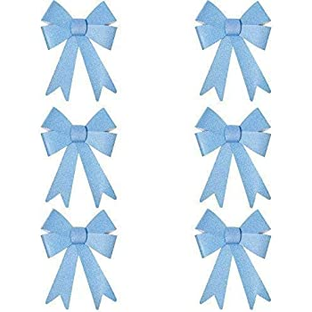 Table Ice Blue Gifts Christmas Glitter Bow Decorations Pre-tied For Tree