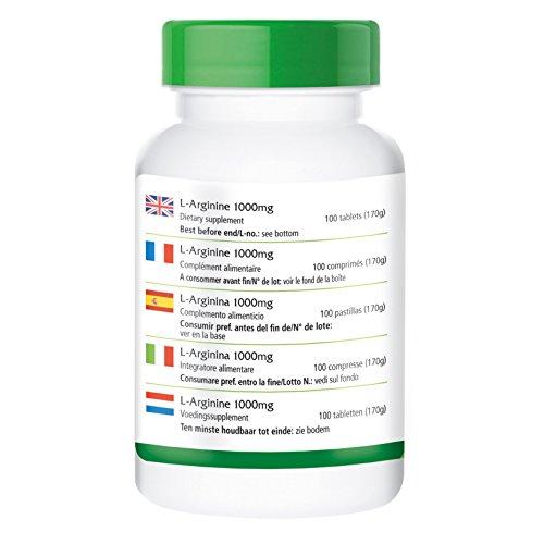 L-Arginin 1000mg – GROSSPACKUNG für 3 Monate – HOCHDOSIERT – 100 Tabletten – L-Arginin-HCL