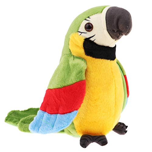 Homyl Juguete Loro Hablando Peluche Animal Forma Regalo para Niños - Verde