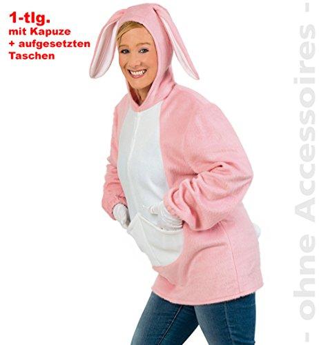 Fritz Fries & Söhne GmbH & Co Costume da donna Coniglio Mira Felpa con cappuccio rosa carnevale divertimento costume maglione con cappuccio con orecchie di coniglio (M)