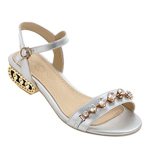 Mee Shoes Damen speziell heels Schnalle mit Strass Sandalen Silber