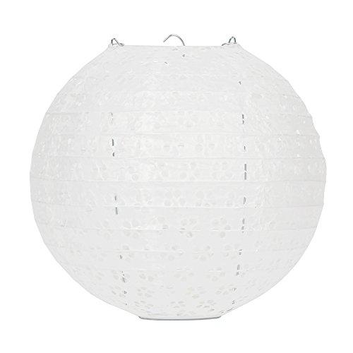 """Dazone 10 Stück Papier Laterne Lampion rund Papierlampen Lampenschirm für Hochzeit Kirche Garten Party Dekoration Ballform (10"""" (25cm), Weiß)"""