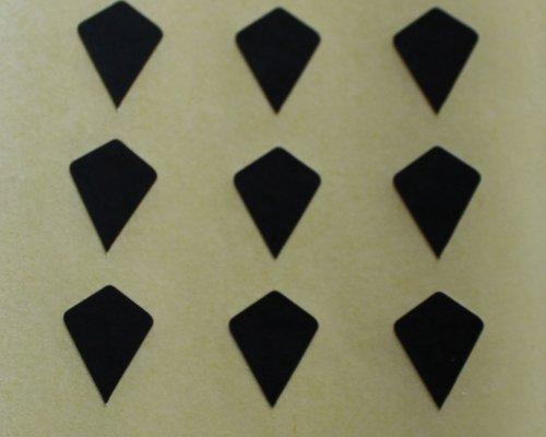 150 Etiquetas, 10x7mm Forma Cometa, Negro, pegatinas autoadhesivas, Minilabel Formas