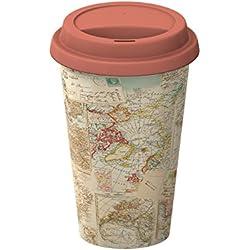 Creative Tops - taza de viaje con tapa de aislamiento, cerámica, amarillo, diseño de Atlas