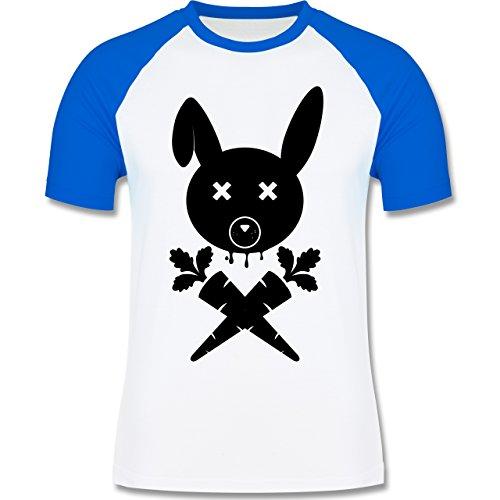 Sonstige Tiere - Hase Skull - zweifarbiges Baseballshirt für Männer Weiß/Royalblau