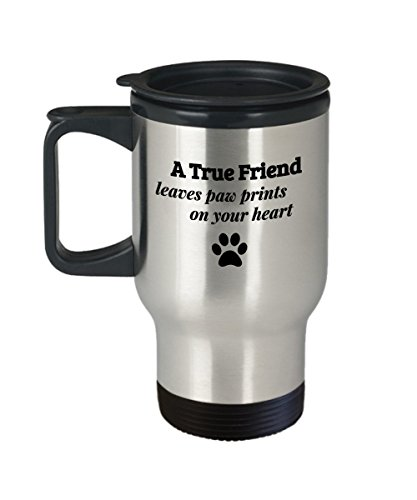 A True Friend Leaves Paw Prints on your heart–Kaffee Tee Reise Becher Geschenk für Dog Cat Animal Lover - Animal-print Becher Kaffee