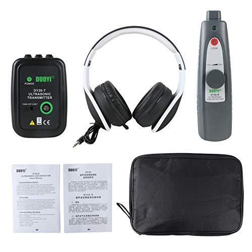 BELEY Detector de fugas ultrasónico con transmisor, Probador de fugas del sistema de vacío de presión de agua y aire con kit de accesorios para auriculares