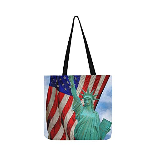 Ansicht-Statue Liberty Us Flag Stockfoto Segeltuch-Tote-Handtaschen-Schultertasche Crossbody-Taschen-Geldbörsen für Männer und Frauen Einkaufstasche