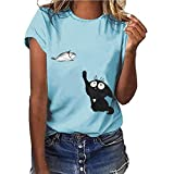 Darringls Maglietta Manica Corta Estive Casual Camicia Elegante Tops Tumblr Maglie Donna Taglie Forti T-Shirt Donna Divertenti Stampa Sportivi Vintage Cotone Top Bluse
