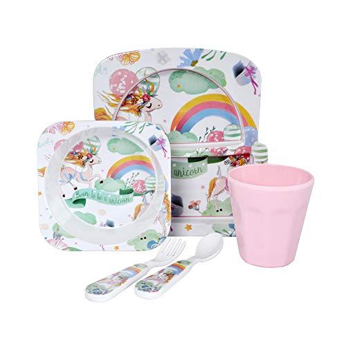 Furany 5 Teiliges Kindergeschirr Set aus Melamin   Müslischale Kinderteller Trinkbecher Einhorn Design   Piraten Design (Regenbogen Einhorn Design)