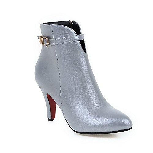 AgooLar Damen Niedrig-Spitze Reißverschluss Weiches Material Hoher Absatz Spitz Zehe Stiefel Silber
