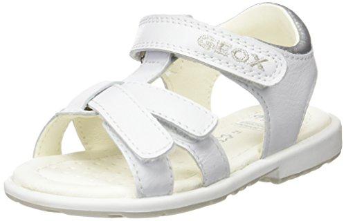 Geox Baby Mädchen B Verred D Sandalen, Weiß (White/SILVERC0007), 20 EU