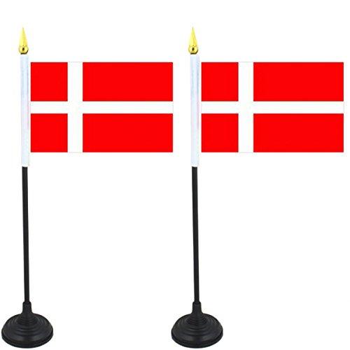 SET Mini Fahne Flagge Länder Fan WM Fußball inkl. Halter Farbe Dänemark ()