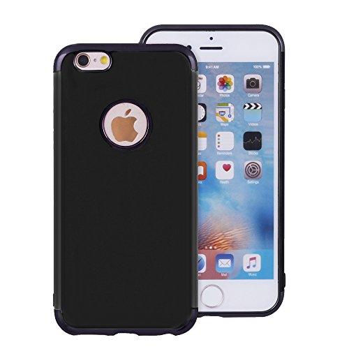 iProtect Apple iPhone 7 Plus, iPhone 8 Plus Softcase Schutzhülle mit Logoaussparung in Schwarz - Gold Metallic Schwarz - Lila Metallic