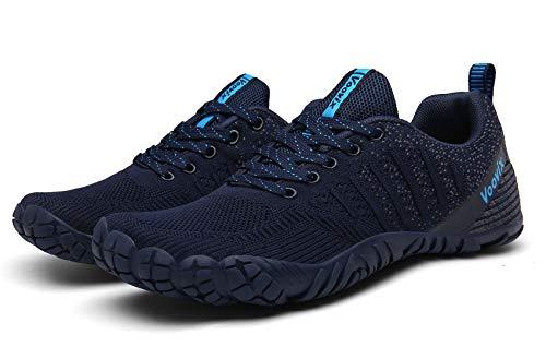 Voovix Herren Trekkingschuhe Damen Wanderschuhe Barfußschuhe Laufschuhe Traillaufschuhe Knit Sneaker Fitnessschuhe im Sommer blue41