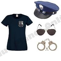 Blue Planet Online Ladies American Police Woman Fancy Dress Costume (Top,Badge,Cap,Glasses,Handcuffs) (Women: 10)