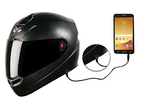 Steelbird SBA-1 7Wings HF Dashing Full Face Helmet with Smoke Visor and Detachable Handsfree Device (Large 600 MM, Black)