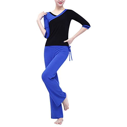 Zhhlaixing Fashion Double-side Wear Yoga Sportswear Womens Athletic Slim Two pieces Set Blue / Black