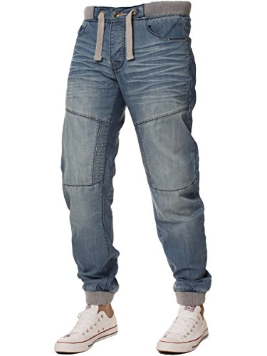 Ze Enzo Enzo Branded Designer Cuffed Joggers Jeans for Men Cuff Pants Pockets Regular Fit Black Blue Dark Wash All Sizes (Light Wash, 38W x 32L)