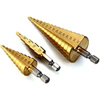 XCSOURCE 3Pcs Grande HSS Acciaio Passo Cono Drill titanio Bit Set Hole 4-12 / 20/32 millimetri BI020