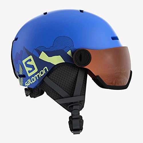 Salomon Kinder Grom Visor Ski- und Snowboardhelm, mit Visier, In-Mold-Schale und EPS-Innenschale, Kopfumfang 53-56 cm, blau (Pop Blue Mat), Größe M, L40539600