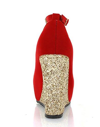 UH Femmes Sandales Bride Cheville à Talons Compensees avec Plateforme et Strass Bout Ferme Confortables Simple et Brillant Rouge