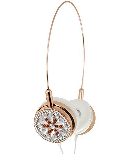 Lily England On Ear Kopfhörer mit Mikrofon im Rosegold Design - Leichte Glitzersteine Headphones & Bügelkopfhörer- Freisprechen mit Kabel, Musiksteuerung & Lautstärkeregler England Rosa Rose