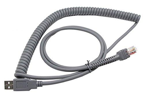 CERRXIAN Symbol Ls2208 USB-Kabel, USB A zu RJ45 Coiled Spirale Verlängerungskabel, Motorola Symbol Barcode-Scanner Ls2208ap Ls1203 Ls4208 Ls4278 Ds6707 Ds6708 USB-Kabel, (10ft, 3M)