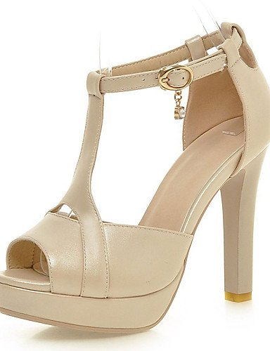 LFNLYX Scarpe Donna-Sandali-Formale / Serata e festa-Tacchi / Plateau / Aperta-A stiletto-Finta pelle-Nero / Rosa / Bianco / Beige beige