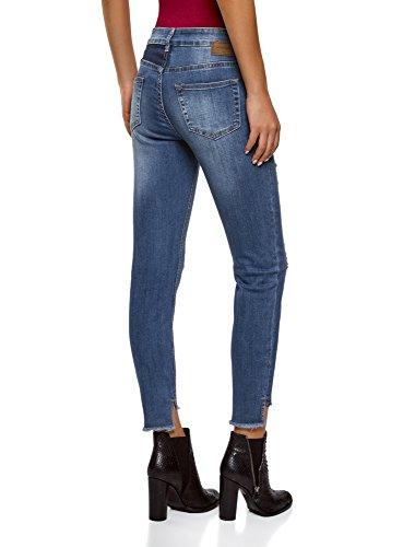 oodji Ultra Damen Jeans Skinny mit Rissen Blau (7500W)