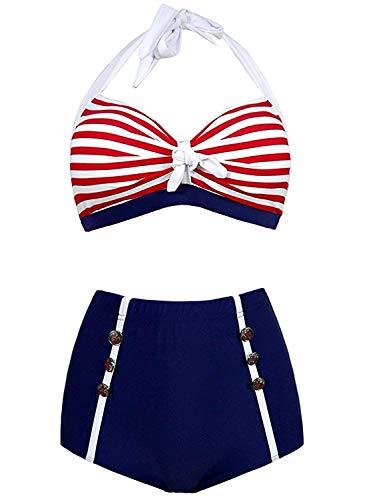 Vintage Sailor Hose (Futurino Damen Frühjahr/Sommer Vintage Retro Nautical Sailor Bügel Push Up Bikini Sets Bademode, EU40, Mehrfarbig)