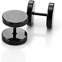 GIRISA Black Metal Round Barbell Piercing One Pair Stud Earrings For Men And Boys