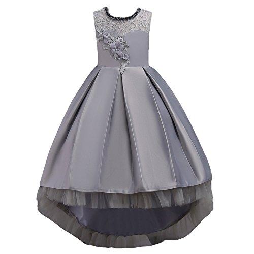 Wulide Kinder Mädchen Abendkleid Prinzessin Kleid Festkleid mit Blumen, Grau,...