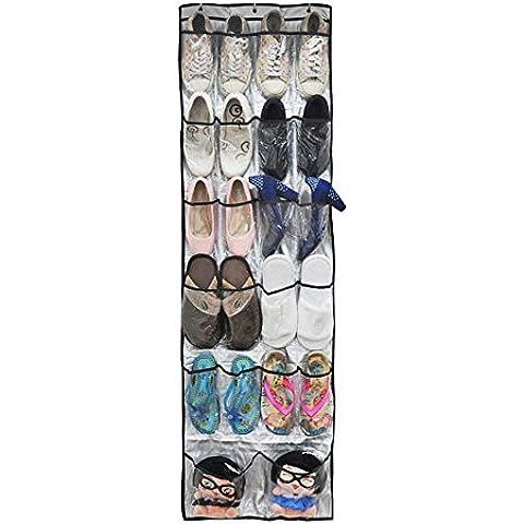 kongka Portable 22bolsillos transparentes sobre para colgar en la pared bolsa de almacenamiento en la puerta zapatero organizador de almacenamiento Soporte para sistema de estantes (Oxford + PVC de plástico)–Ideal Solución De Almacenamiento Para Zapatos, Kits, Sundries y prenda, etc.–Plata