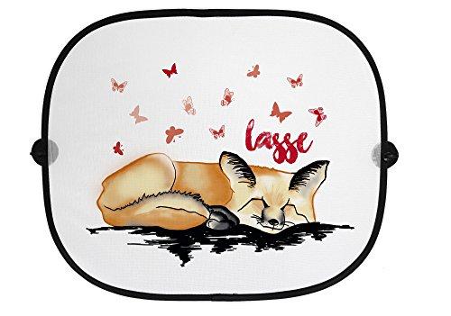STINKSANDSTANKS Auto Sonnenschutz - Fuchs, schlafend, Schlaf, Schmetterlinge, Sonnenschutz, Auto, Sonnenblende, Fenster, PKW, Kinder, Familie, Geschenk AB010 (Orange)